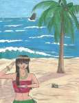 Whale Drawings Metal Prints - Hula Elf Girl Metal Print by Sabrina Bianchi