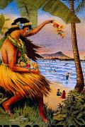 Sunbathe Framed Prints - Hula Flower Girl 1915 Framed Print by Hawaiian Legacy Archive - Printscapes