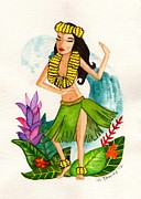 Dancing Girl Paintings - Hula Girl by Heather Torres