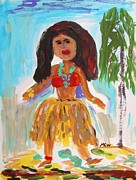 Dancer Art Drawings Posters - Hula Girl Poster by Mary Carol Williams