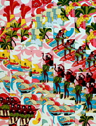 Red Flowers Tapestries - Textiles - Hula Hands by Bob Hoffmann