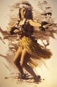 Hawaiian Vintage Art Framed Prints - Hula On The Beach Framed Print by Himani - Printscapes