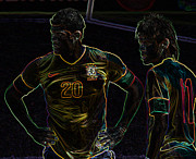 Neymar Photos - Hulk and Neymar Neon by Lee Dos Santos