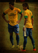 The Hulk Prints - Hulk and Neymar Ready for the Shot II Print by Lee Dos Santos