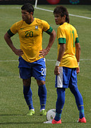 Ballgame Prints - Hulk and Neymar Ready for the Shot Print by Lee Dos Santos
