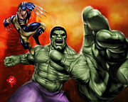 Cartoon Drawings Prints - Hulk Print by Pete Tapang