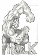 Business Cards Drawings Posters - Hulk Poster by Rick Hill