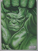 Hulk Painting Framed Prints - Hulk Smash Framed Print by Steven Coughlin