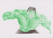 Thor Drawings Framed Prints - Hulk Framed Print by Toni Jaso