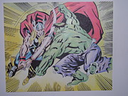 Thor Mixed Media - Hulk vs Thor by Tom Russick