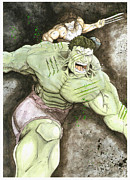 Wolverine Mixed Media Framed Prints - Hulk VS Wolverine Framed Print by Lee  Ah yen