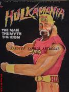 Lady In Red Drawings - Hulkster by Sandeep Kumar Sahota