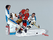 Hockey Painting Metal Prints - Hull Deflected Metal Print by Phil Strang