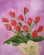 Impressionistic  On Canvas Paintings - Hull Roses by Karen Francis