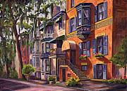 Spanish House Paintings - Hull Street In Chippewa Square Savannah by Jeff Pittman