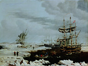 Sailing Ship Paintings - Hull Whalers in the Arctic  by Thomas A Binks