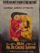 Lady In Red Drawings - Hum Dil De Chuke Sanam by Sandeep Kumar Sahota