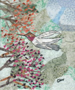 Bird Tapestries - Textiles Prints - Hum for Supper Print by Charlene White