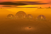 Artist Rendering Posters - Human Settlement on Alien Planet Poster by Carol and Mike Werner and Photo Researchers