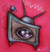 Television Paintings - Human TV by  Abril Andrade Griffith