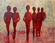 Women Together Painting Metal Prints - Humans Metal Print by Andrea Meyer