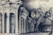 Tomb Drawings Metal Prints - Humayun Tomb Metal Print by Rohinibhan Challu