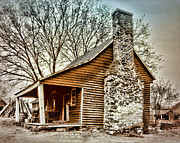 Vintage Log House Prints - Humble Beginnings Print by Marcie Adams Eastmans Studio Photography