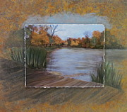 Park Mixed Media Framed Prints - Humboldt Park Dock layered Framed Print by Anita Burgermeister