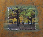 Park Mixed Media Framed Prints - Humboldt Park Trees layered Framed Print by Anita Burgermeister