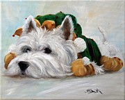 Westie Puppies Posters - Humbug Poster by Mary Sparrow Smith