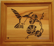 Scroll Saw Sculptures - Humming Bird and Flower by Russell Ellingsworth