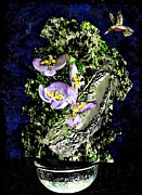 Purple Flowers Mixed Media Posters - Humming Bird and Purple Flowers Poster by Sarah Loft