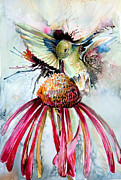 Watercolor  Drawings Posters - Humming Bird Poster by Mindy Newman