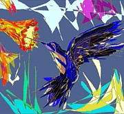 Abstract Flower Art - Humming Bird by Navo Art