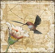 Photo Manipulation Digital Art Posters - Hummingbird and Wildflower Poster by Lesley Smitheringale