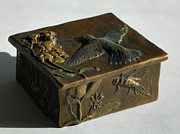 Broadtailed Hummingbird Sculpture Posters - Hummingbird Box with Painted Patina - stonefly side Poster by Dawn Senior-Trask