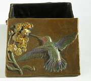 Treasure Box Sculpture Metal Prints - Hummingbird Box with Painted Patina - top view Metal Print by Dawn Senior-Trask