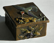 Birds Sculpture Prints - Hummingbird Box with Painted Patina - wild mint side Print by Dawn Senior-Trask