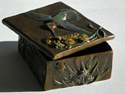 Treasure Box Sculpture Metal Prints - Hummingbird Box with Painted Patina - Y bug side Metal Print by Dawn Senior-Trask