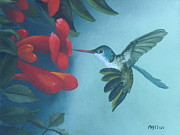 Hummingbird Paintings - Hummingbird Feeding by Michael Allen