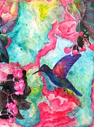 Angel Blues  Mixed Media Metal Prints - Hummingbird Heaven Metal Print by David Raderstorf