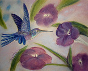 Purple Flowers Pastels Posters - Hummingbird in Purple Flowers Poster by Julie Brugh Riffey
