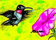 Ocean Art Paintings - Hummingbird Sees Hot Pink Flower by Ocean