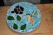 One Of A Kind Glass Art - Hummingbird Stepping Stone by Hartz