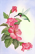 Leona Jones Posters - Hummingbird with Hibiscus Poster by Leona Jones