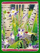 Batik Painting Posters - Hummingbirds in the Aspen Poster by Harriet Peck Taylor