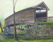 Covered Bridge Paintings - Humpback Bridge by J Luis Lozano