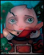 Alice In Wonderland Painting Metal Prints - Humpty Dumpty Metal Print by  Abril Andrade Griffith