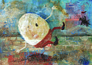 Nursery Rhyme Mixed Media Metal Prints - Humpty Dumpty Metal Print by Jennifer Kelly
