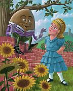 Nursery Rhyme Posters - Humpty Dumpty On Wall With Alice Poster by Martin Davey